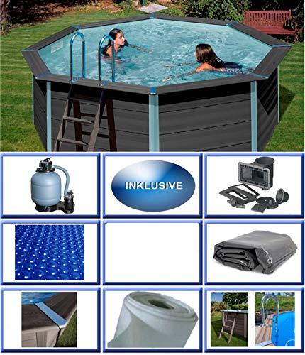 Summer Fun Pool Folie achtform 3,20m x 5,25m x 1,20m Folienst/ärke 0,6mm blau mit Einh/ängebiese 320 x 525 x 120 cm Stahlwandpool Achtformpool