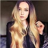 Xiweiya Ombre marrón peluca mezclada marrón peluca del cuerpo largo sintético Encaje frente Pelucas para las mujeres resistente al calor Fibra larga ondulado peluca alta densidad media parte