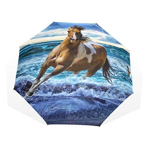 ISAOA Automatischer Reise-Regenschirm,kompakt,faltbar,Running Horse Art Malerei,Winddicht Stockschirm,Ultraleicht,UV-Schutz,Regenschirm für Damen,Herren und Kinder