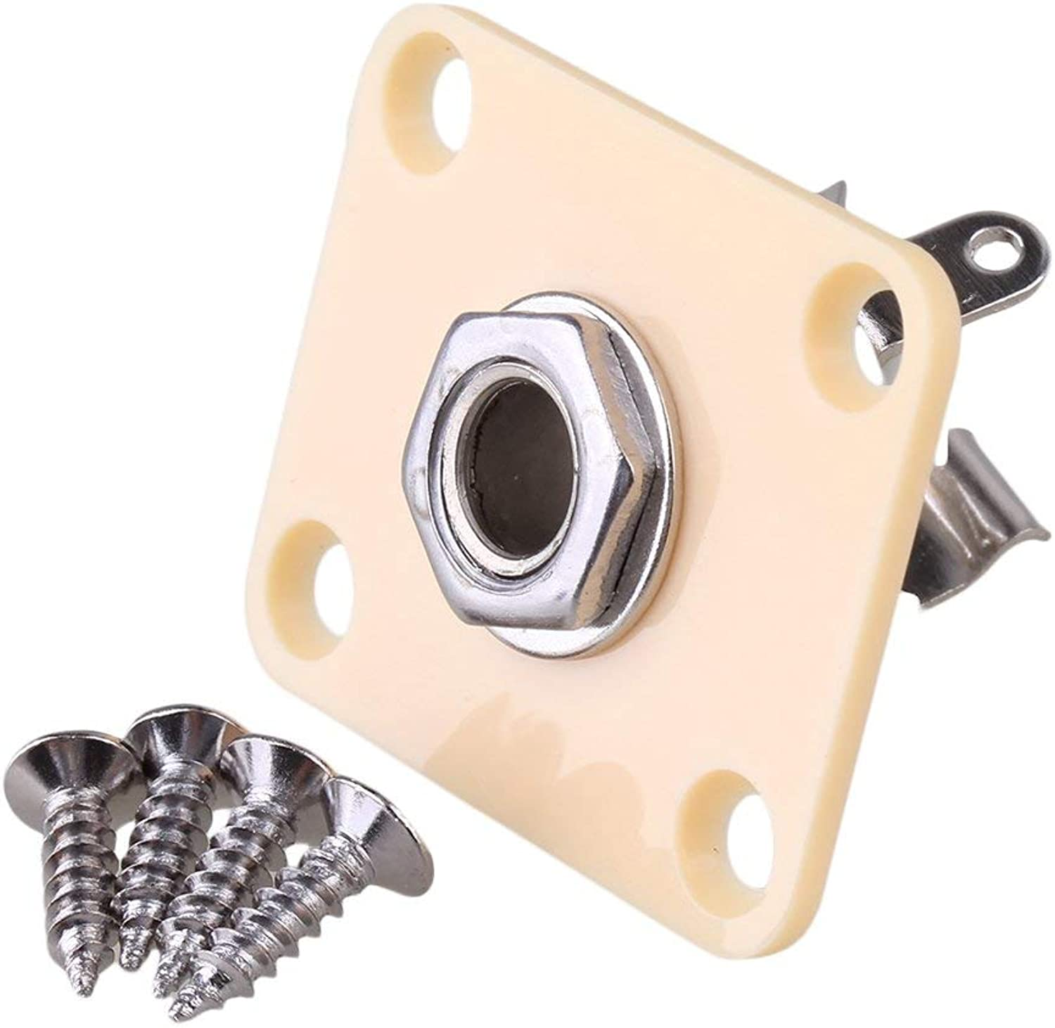 Yibuy CreamyWhite Plastic Rectangular Output Jack Plate & Screws for Guitar Replacement Parts