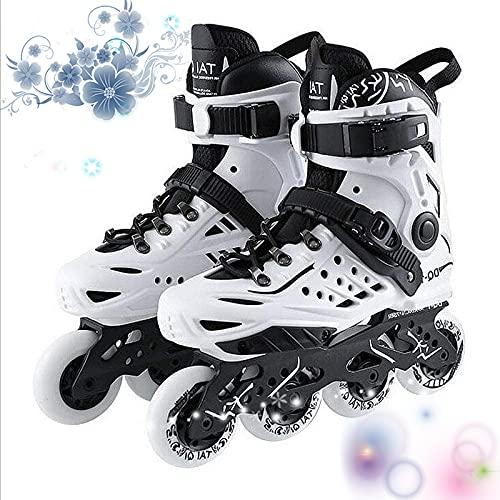 35-46 Herren Damen Inliner, Inlineskates Schoner Erwachsene, Fitness Skates Mit 6-Teilige Schutzausrüstung,Weiß,46