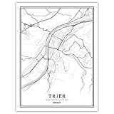 Leinwand Bilder,Trier Stadtplan Schwarz-Weiß-Plakatkarte