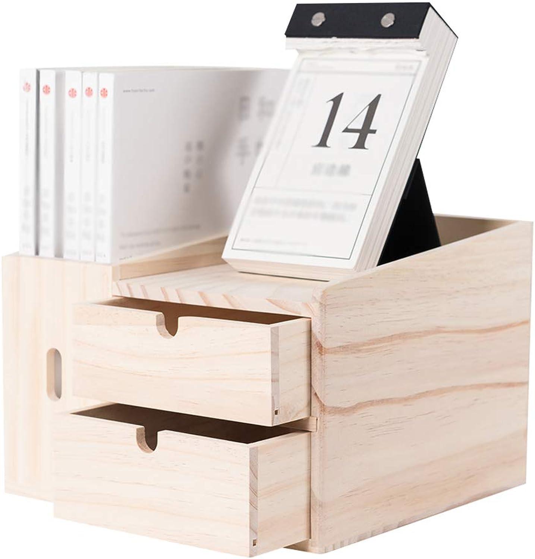 Creative Bookshelf Space-Saving Bookcase Pine Wood Office Desktop Storage Box with 2 Drawers