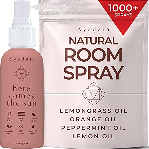 Ayadara Natural Room Spray | Citrus Mint Air Freshener for Bedroom, Bathroom, & Living Rooms | Lemon, Orange, & Witch Hazel Deodorizer Mist | Odor Eliminator Essential Oil Spray | 1000+ Sprays