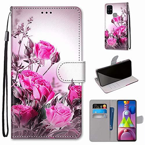 Miagon Flip PU Leder Schutzhülle für Samsung Galaxy M51,Bunt Muster Hülle Brieftasche Case Cover Ständer mit Kartenfächer Trageschlaufe,Wild Rose