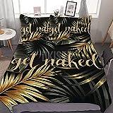 DKISEE Juego de cama de 3 piezas (1 funda de edredón, 2 fundas de almohada) Get Naked Tropical Jungle Palm Leaves negro y oro impreso funda de edredón suave (sin edredón) juego de cama de 218 x 177 cm