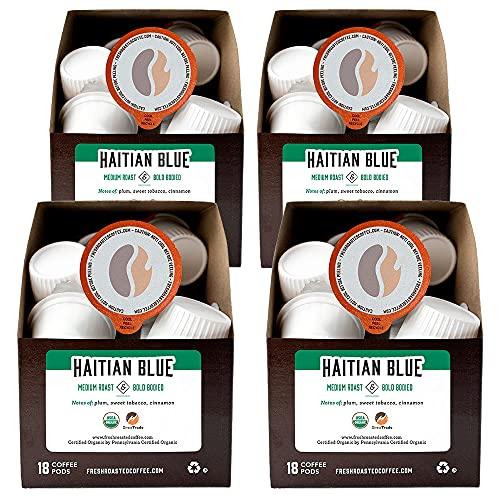 Fresh Roasted Coffee, Organic Haitian Blue, Medium Roast, Kosher, K-Cup Compatible, 72 Pods