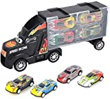 El transporte de coches Camión transportador de juguete, Camión de juguete Incluye 4 coches de juguete y accesorios con estuche de transporte, regalo for niños y niñas (color: amarillo) jianyou