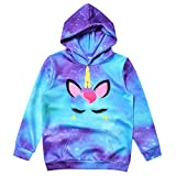 Littler Girls Long Sleeve Starry Unicorn Hoodie Starry Pullover Sweatshirt Size 8 9t