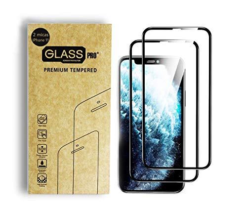 Paquete de 2 Micas para iPhone 11 / XR de Vidrio Cristal Templado que Protege de Golpes y Rayones Mica con Borde Negro y Cristal Totalmente Transparente (iPhone 11, XR)