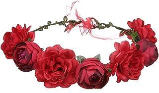 Bridal Rose Crown Handmade Floral Wreath Lifelike Simulaiton Headband for Wedding(Red)