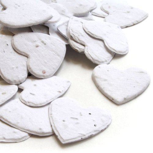 Heart Shaped Plantable Seed Confetti in White Value Pack (two 350 piece bags = 700 pieces of seed confetti)