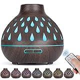 Aroma diffusor (500 ml), Ultraschall befeuchter, therische le Diffusor mit LED-Beleuchtung und wasserlose automatische Abschaltung fr Bro/Schlafzimmer/Yoga-Raum (dunkelbraun)