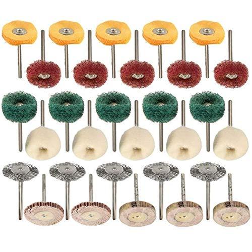 BXU-BG Juego de 30 cepillos de pulido de rueda para herramientas rotativas abrasivas
