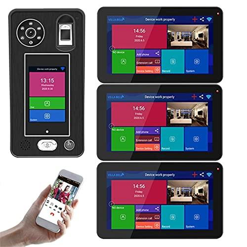 ZCZZ Videoportero inalámbrico WiFi, videoportero de 9 Pulgadas, intercomunicador, cámara de visión Nocturna 1080P, desbloqueo de la aplicación de reconocimiento Facial de Huellas Dactilares, 3 mo