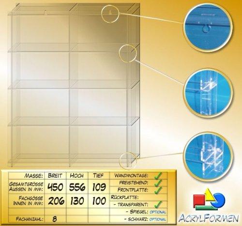 Unbekannt Setzkasten aus Acrylglas für Mineralien SL027 Rückwand Schwarz