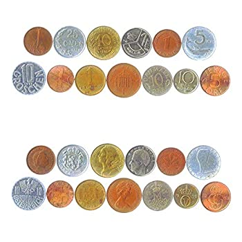 13 PRE-Euro Coins Inner SIX and Outer Seven Old European Union Coins
