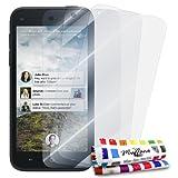 3 Protecciones de Pantalla transparentes para HTC FIRST 'UltraClear' Originales de MUZZANO de Calidad PREMIUM - Tratamiento Anti-rayado, Anti-rastro y Anti-polvo + De regalo 1 ESTILETE + 1 PAÑO MUZZANO