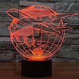 Hogar caliente Hacer regalos que vuelan de estilo asiático 7 color visión estéreo luz del interruptor del tacto de la lámpara LED de luz de noche lámpara de mesa de 3D, DC 5V, decoración de acrílico l