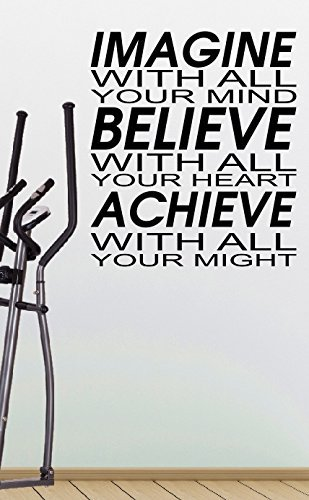 Preisvergleich Produktbild Imagine with all your mind Believe with all your heart Achieve with all your might - Crossfit Workout Gym Fitness Motivation Quote wall vinyl decals stickers Art Decor DIY by spb87