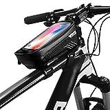 Fahrrad Rahmentasche Wasserdicht Handytasche iphone, Oberrohrtasche mit Kopfhörerloch TPU Touchschirm Fahrrad Handyhalterung Rahmentasche für iPhone Huawei Samsung Sony bis zu 6,5 Zoll (Schwarz)