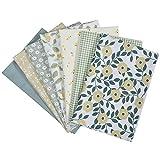 FELENX 7 piezas de sarga de algodón puro, tamaño 50 x 50 cm, traje de tela de patchwork hecho a mano, utilizado para coser juguetes de muñeca y máscaras de bricolaje caseras (verde)