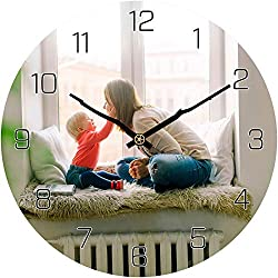 HMANE Custom Wall Clock, 12 Inches Personalized Family Clock Round Silent Clock Print Customized Birthday Gift - Black Numbers