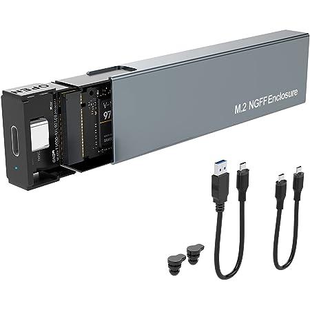 Rocketek USB C/USB a SATA NGFF SSD M.2 Adaptador de gabinete externo, USB 3.1 Gen 2 de aluminio de 6 Gbps a B-Key(B+M Key), sin herramientas, soporte UASP Trim para SSD Tamaño 2230/2242/2260/2280