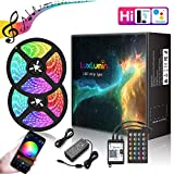 LuxLumin LED Strip Lights 32.8ft,WiFi IP65 Waterproof Dimmable Led Light Strip with Remote,Music Sync Color Changing RGB LED Strip Lights for Bedroom, Work with Amazon Alexa Google Assistant