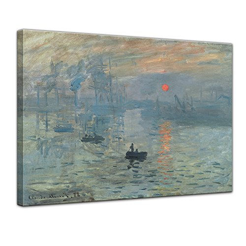 Leinwandbild Claude Monet Impression Sonnenaufgang - 60x50cm quer - Wandbild Alte Meister Kunstdruck Bild auf Leinwand Berühmte Gemälde