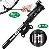 AMZOON Bike Pump Mini Bicycle Pump With Flexible Hose+Pressure Gauge-Save Energy & Easy Pumping, Fits Presta &...