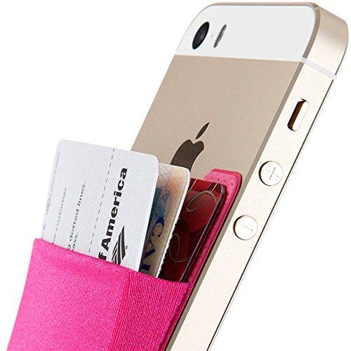 Sinjimoru Smart Wallet (aufklebbarer Kreditkartenhalter) / Smartphone Kartenhalter/Handy Geldbeutel/Mini Geldbörse/Kartenetui für iPhones und Android Smartphones. Sinji Pouch Basic 2, Pink.