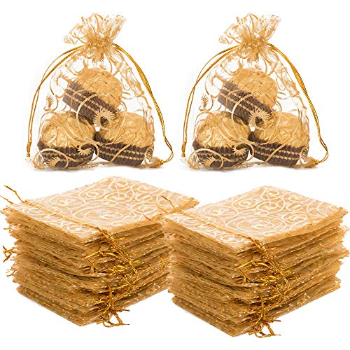 オーガンジー 巾着袋 100枚 小物入れ ジュエリー袋 アクセサリー収納 ラッピング袋 ジュエリー収納 お菓子 チョコレートバッグ プレゼント 贈り物 キャンディ袋 ポーチ キラキラ ギフト包装 まつげ模様 ゴールド 10×12cm