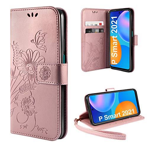 ivencase Handyhülle Kompatibel mit Huawei P Smart 2021 Hülle Flip Lederhülle, Handyhülle Book Hülle PU Leder Tasche Hülle & Magnet Kartenfach Schutzhülle - Pink Gold