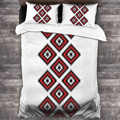 Set di biancheria da letto in 3 pezzi, stile nativo americano, motivo azteco a zig zag con decorazioni ricamate, set copripiumino in morbida microfibra, 1 copripiumino (21,6 x 178 cm) e 2 federe (50 x 76 cm)