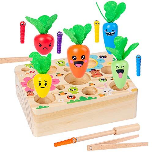 MMTX Juguetes Montessori 1 2 3 Años Niños Aprendizaje, Juegos Educativos de Granja Infantiles Ejercicio, Juguetes de Madera Clasificación Rompecabezas Juguetes Educativos Regalo Pare Bebe