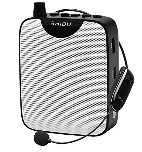 Amplificador de voz con auriculares de micrófono inalámbrico UHF,sistema de audio portátil con mini altavoz recargable 10W micrófono amplificadores de sonido para los profesores, guías turísticos