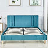 <span class='highlight'><span class='highlight'>LANKOU</span></span> Valentina Small Double Bed Frame.122 * 191CM.Platform Bed .Upholstered Fabric Headboard. Fabric Linen fabric.UPS Delivery (Blue Fabric 4ft)