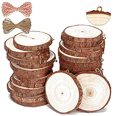 SENMUT Natural Wood Slices 30 Pcs 2.0-2.4 inch Unfinished Wood Crafts Pre-Installed Wood Rounds with Small Eye Screws Christmas Ornament Wooden Circles for Arts and DIY Craft Wood kit