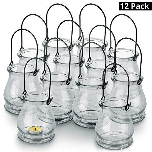 BELLE VOUS Windlichter mit Henkel (12er Pack) - (10x8,3cm) Transparente Glas Laterne mit Metall Aufhängen - Innen e Außen TeelichKerzenthalter Vase für Hochzeit Deko, Garten, Party, Tischdeko
