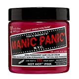 Manic Panic Hot Hot Pink Hair Dye – Classic High Voltage - Semi Permanent Hair Color - Medium Pink Shade - Glows in Blacklight – For Dark & Light Hair - Vegan, PPD & Ammonia Free - For Coloring Hair