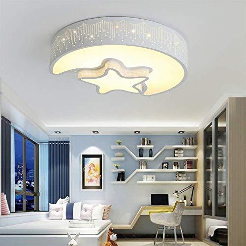 Moderne led-plafondlamp, plafondlamp voor tienerkamer en meisjes, driekleurig en phi; 45 cm, 36 W, plafondverlichting voor maan en sterren voor kinderkamer, wit