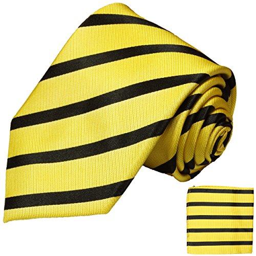 Paul Malone Krawatten Set 2tlg 100% Seidenkrawatte gelb schwarz