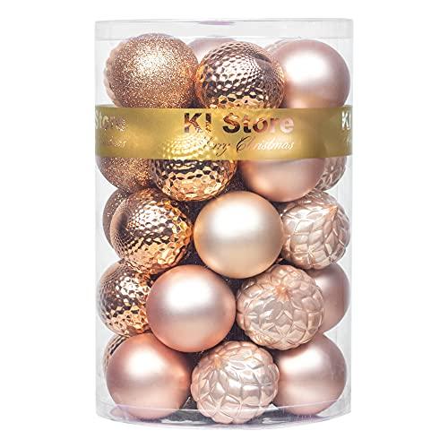 decorazioni natalizie oro e bianco Busybee Unbekannt Palline di Natale 34 Pezzi 6 cm Oro Rosa Palline Natalizie Ornamento di Palla di Natale per la Decorazione dell'albero di Natale