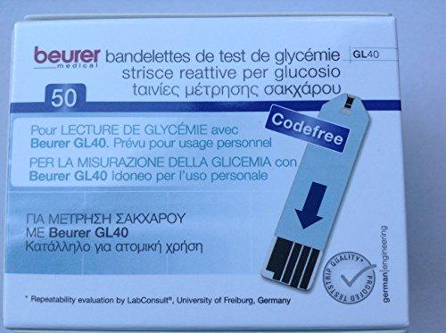 Beurer Blutzucker-Teststreifen (zur Verwendung mit GL 40), 50 Stück
