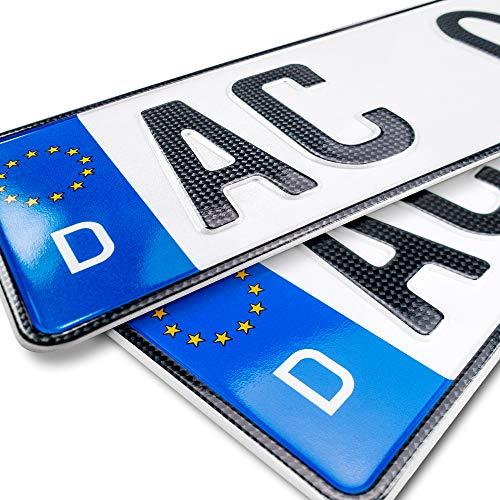 schildEVO 2 Carbon Kfz Kennzeichen | 460 x 110 mm | OFFIZIELL amtliche Nummernschilder | DIN-Zertifiziert – EU Wunschkennzeichen mit individueller Prägung | Autokennzeichen