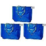 3x Frakta azul tamaño mediano bolsa de la compra o la colada, juego de 3