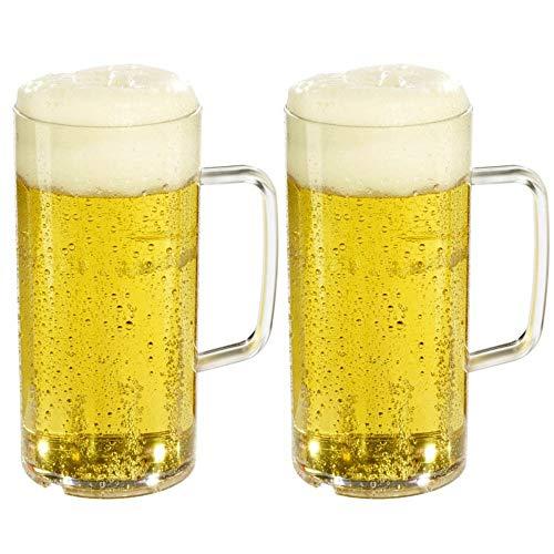versandfuxx24 Outdoor Bierkrug 0,5l - 2er Set Bierglas mit Eichstrich bei 0,4l aus Kunststoff