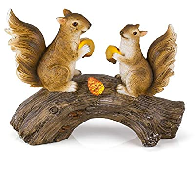 Dawhud Direct Squirrels on a Log Solar Powered Outdoor LED Garden Light