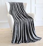 BAICOSE Flannel Fleece Throw Blanket, Super Soft Cozy Microfiber Couch Blankets for All Season, 50x70 Inches Grey
